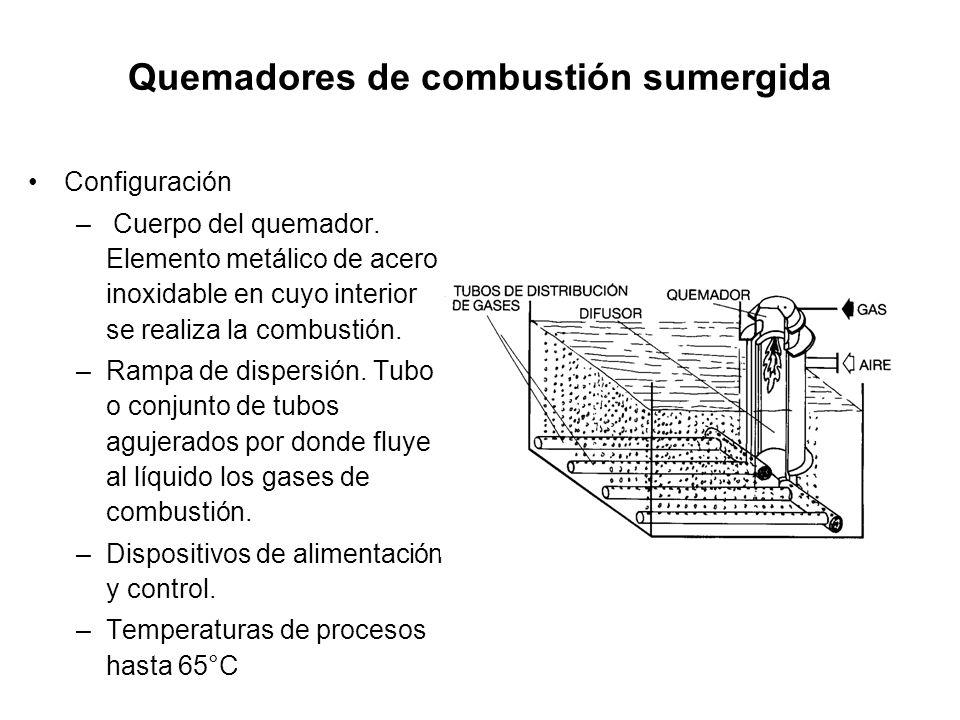 Quemadores de combustión sumergida Configuración – Cuerpo del quemador.