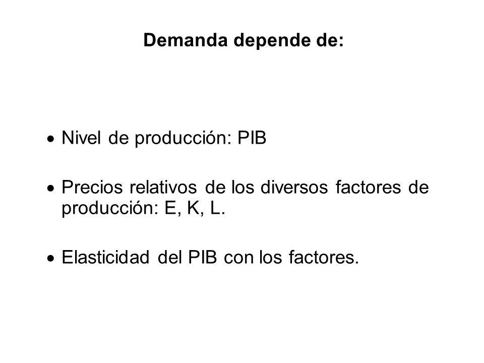 Demanda depende de: Nivel de producción: PIB Precios relativos de los diversos factores de producción: E, K, L. Elasticidad del PIB con los factores.
