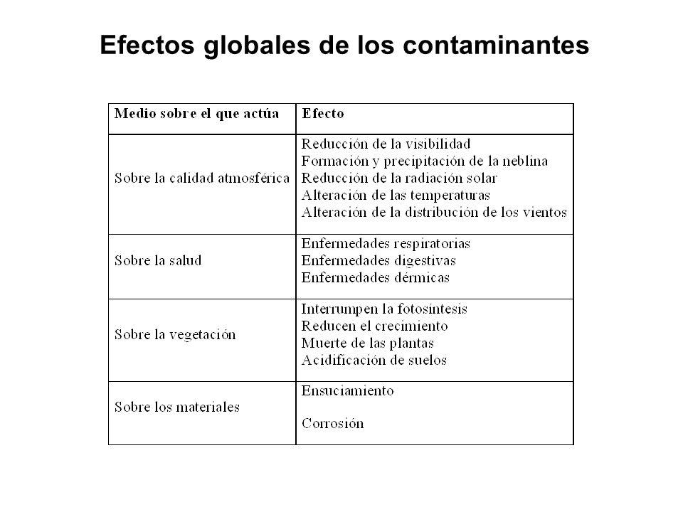 Efectos globales de los contaminantes