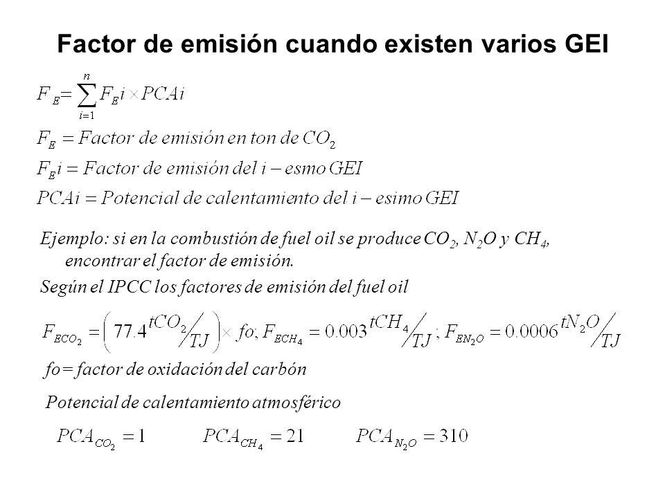 Factor de emisión cuando existen varios GEI Ejemplo: si en la combustión de fuel oil se produce CO 2, N 2 O y CH 4, encontrar el factor de emisión. Se