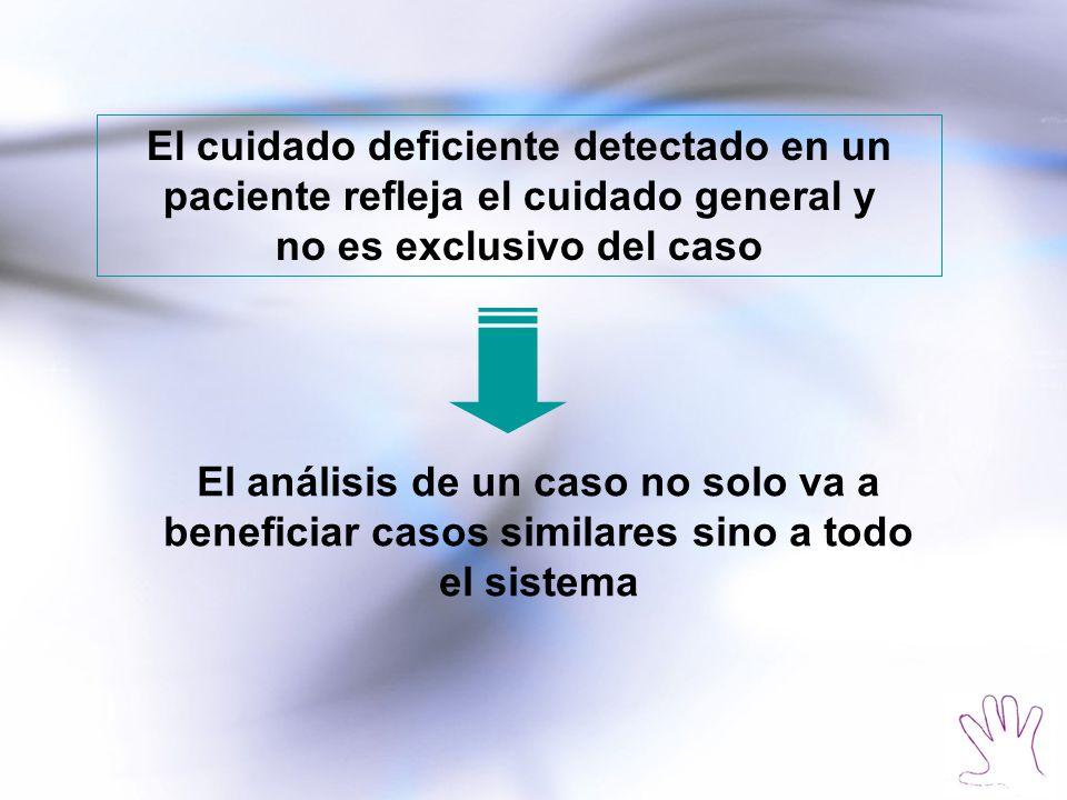 El cuidado deficiente detectado en un paciente refleja el cuidado general y no es exclusivo del caso El análisis de un caso no solo va a beneficiar casos similares sino a todo el sistema