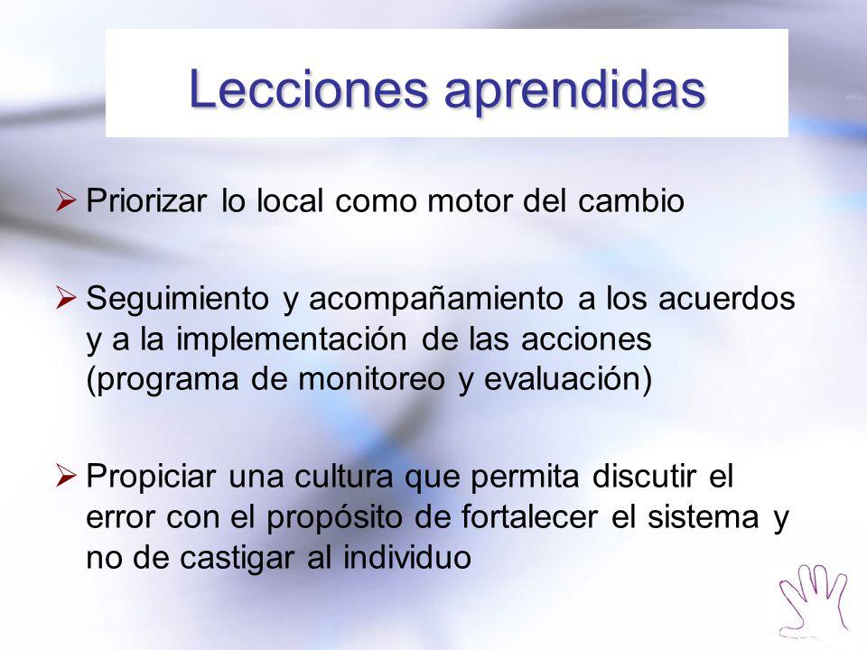 Lecciones aprendidas Priorizar lo local como motor del cambio Seguimiento y acompañamiento a los acuerdos y a la implementación de las acciones (programa de monitoreo y evaluación) Propiciar una cultura que permita discutir el error con el propósito de fortalecer el sistema y no de castigar al individuo