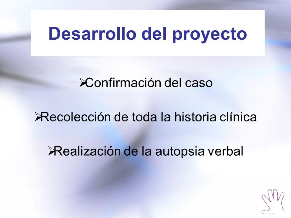 Desarrollo del proyecto Confirmación del caso Recolección de toda la historia clínica Realización de la autopsia verbal