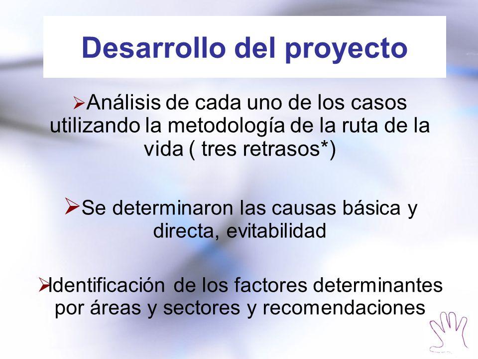 Desarrollo del proyecto Análisis de cada uno de los casos utilizando la metodología de la ruta de la vida ( tres retrasos*) Se determinaron las causas básica y directa, evitabilidad Identificación de los factores determinantes por áreas y sectores y recomendaciones