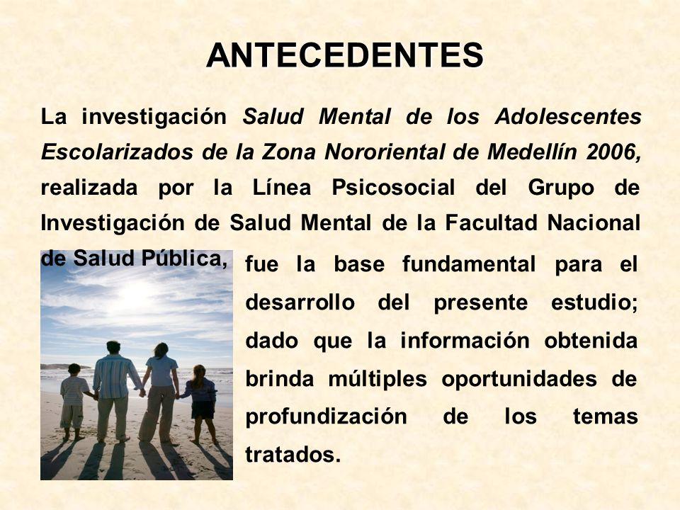 La investigación Salud Mental de los Adolescentes Escolarizados de la Zona Nororiental de Medellín 2006, realizada por la Línea Psicosocial del Grupo