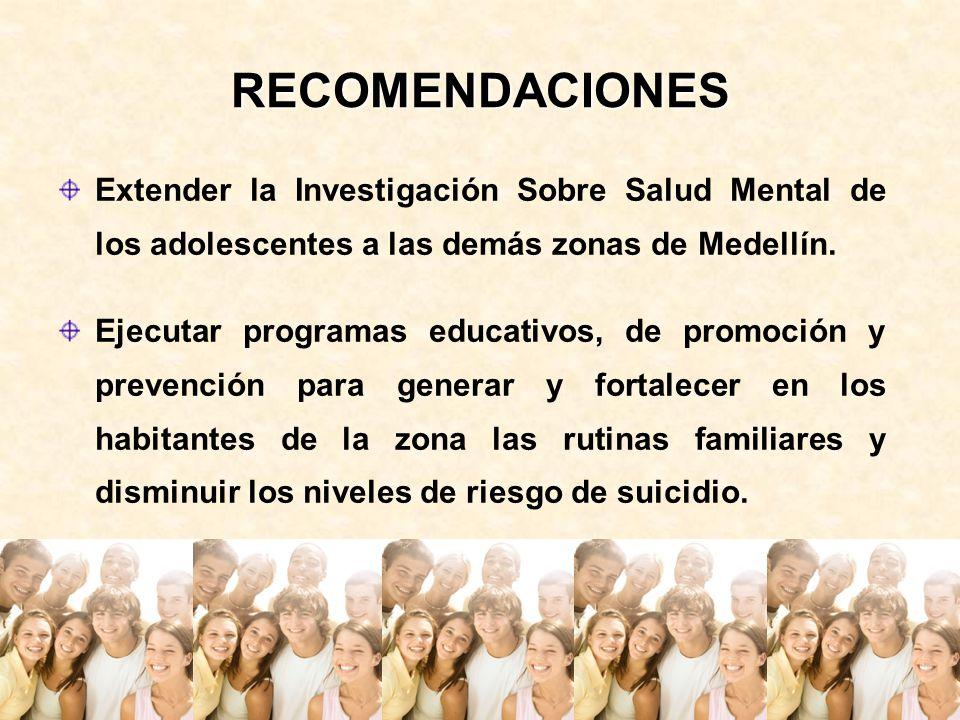 RECOMENDACIONES Extender la Investigación Sobre Salud Mental de los adolescentes a las demás zonas de Medellín. Ejecutar programas educativos, de prom