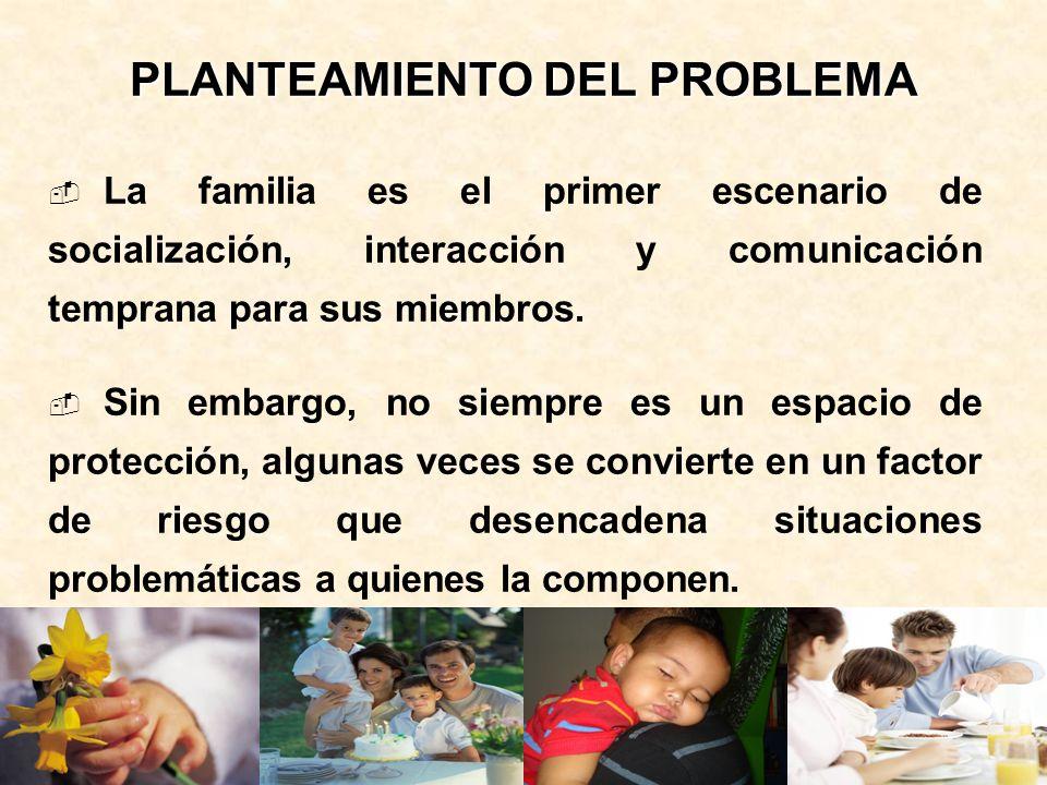 PLANTEAMIENTO DEL PROBLEMA La familia es el primer escenario de socialización, interacción y comunicación temprana para sus miembros. Sin embargo, no