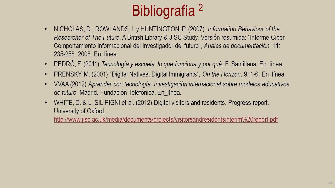 Bibliografía 2 NICHOLAS, D.; ROWLANDS, I. y HUNTINGTON, P. (2007). Information Behaviour of the Researcher of The Future. A British Library & JISC Stu