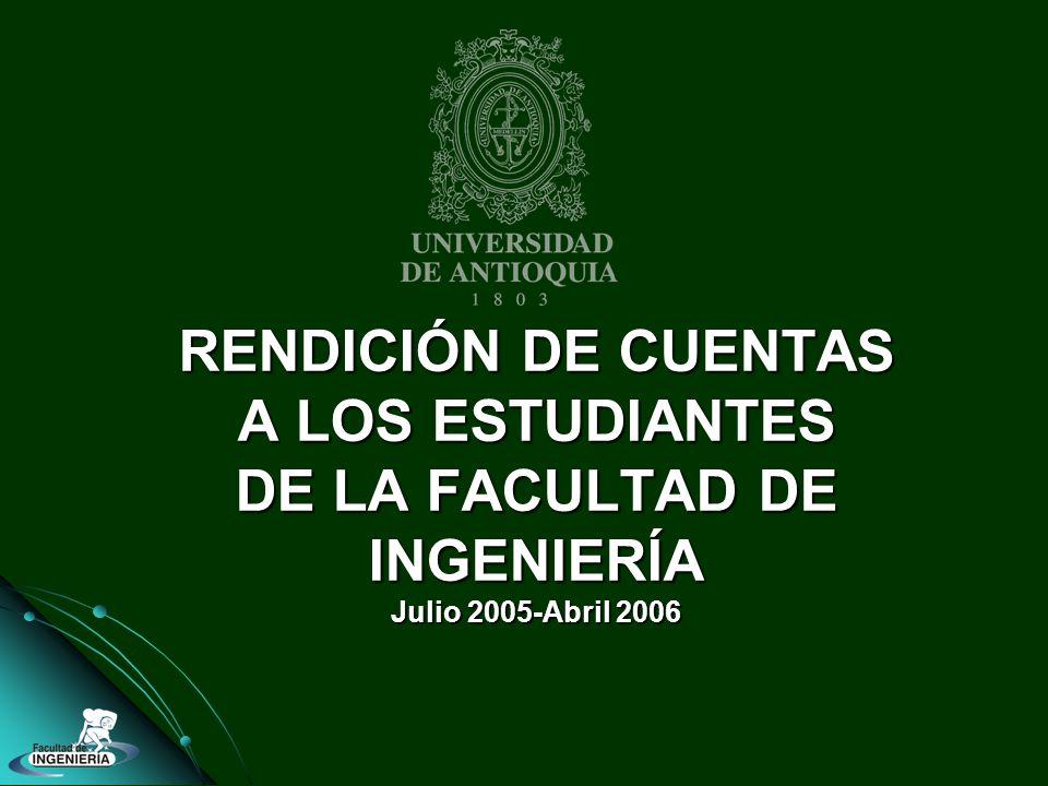 RENDICIÓN DE CUENTAS A LOS ESTUDIANTES DE LA FACULTAD DE INGENIERÍA Julio 2005-Abril 2006