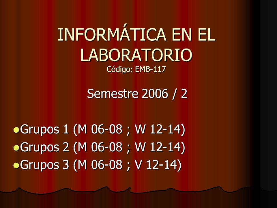 INFORMÁTICA EN EL LABORATORIO Código: EMB-117 Semestre 2006 / 2 Grupos 1 (M 06-08 ; W 12-14) Grupos 1 (M 06-08 ; W 12-14) Grupos 2 (M 06-08 ; W 12-14)