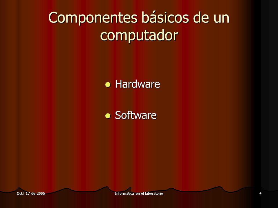 Informática en el laboratorio 4 Oct.l 17 de 2006 Componentes básicos de un computador Hardware Hardware Software Software