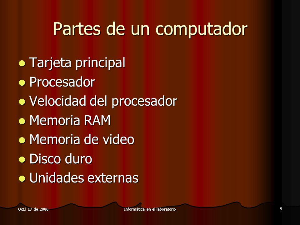 Informática en el laboratorio 6 Oct.l 17 de 2006 Partes de un computador (II) Puertos Puertos Tarjeta de video Tarjeta de video Pantalla Pantalla Accesorios Accesorios