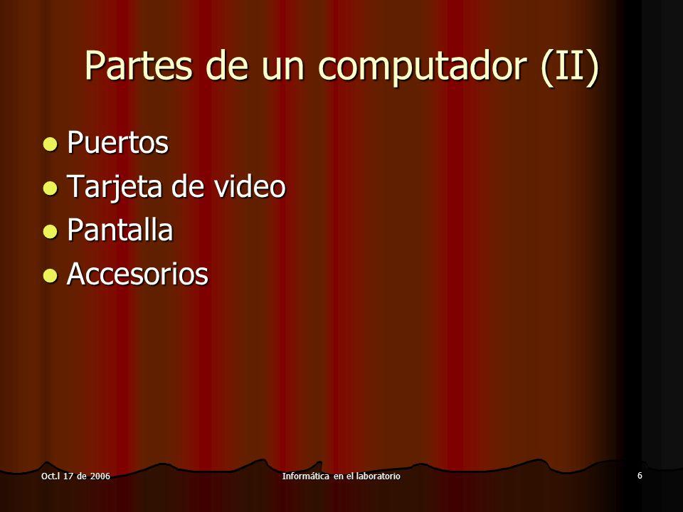 Informática en el laboratorio 7 Oct.l 17 de 2006 Software Sistema operativo Sistema operativo Programas Programas Licenciamiento y Derechos de autor Licenciamiento y Derechos de autor