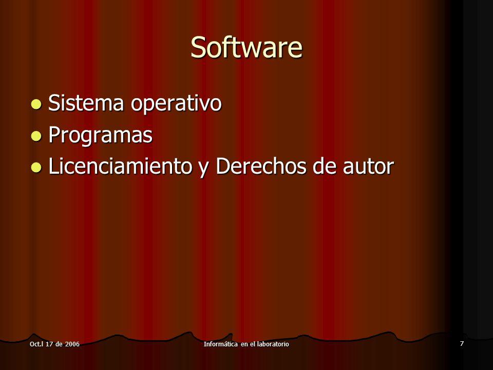 Informática en el laboratorio 7 Oct.l 17 de 2006 Software Sistema operativo Sistema operativo Programas Programas Licenciamiento y Derechos de autor L