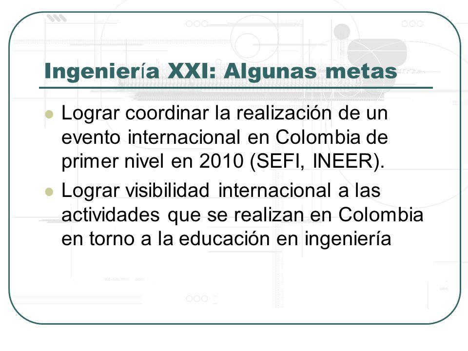 Ingenier í a XXI: Algunas metas Lograr coordinar la realización de un evento internacional en Colombia de primer nivel en 2010 (SEFI, INEER).