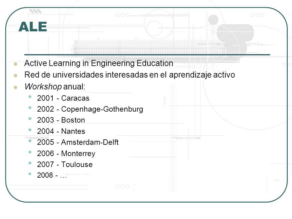 ALE Active Learning in Engineering Education Red de universidades interesadas en el aprendizaje activo Workshop anual: 2001 - Caracas 2002 - Copenhage-Gothenburg 2003 - Boston 2004 - Nantes 2005 - Amsterdam-Delft 2006 - Monterrey 2007 - Toulouse 2008 - …