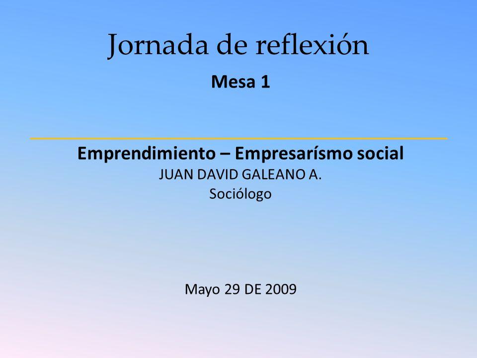 Jornada de reflexión Mesa 1 Emprendimiento – Empresarísmo social JUAN DAVID GALEANO A. Sociólogo Mayo 29 DE 2009