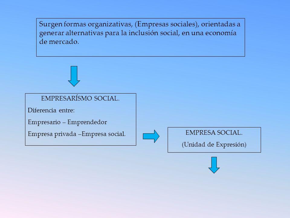 Surgen formas organizativas, (Empresas sociales), orientadas a generar alternativas para la inclusión social, en una economía de mercado. EMPRESARÍSMO