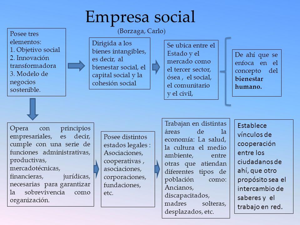De ahí que se enfoca en el concepto del bienestar humano. Empresa social (Borzaga, Carlo) Posee tres elementos: 1. Objetivo social 2. Innovación trans