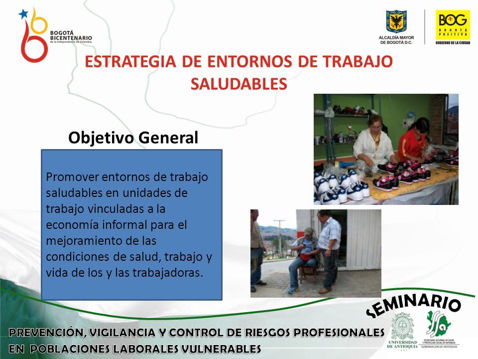 Objetivo General ESTRATEGIA DE ENTORNOS DE TRABAJO SALUDABLES Promover entornos de trabajo saludables en unidades de trabajo vinculadas a la economía informal para el mejoramiento de las condiciones de salud, trabajo y vida de los y las trabajadoras.
