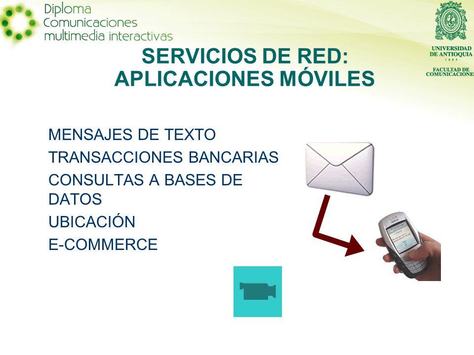 MENSAJES DE TEXTO TRANSACCIONES BANCARIAS CONSULTAS A BASES DE DATOS UBICACIÓN E-COMMERCE SERVICIOS DE RED: APLICACIONES MÓVILES