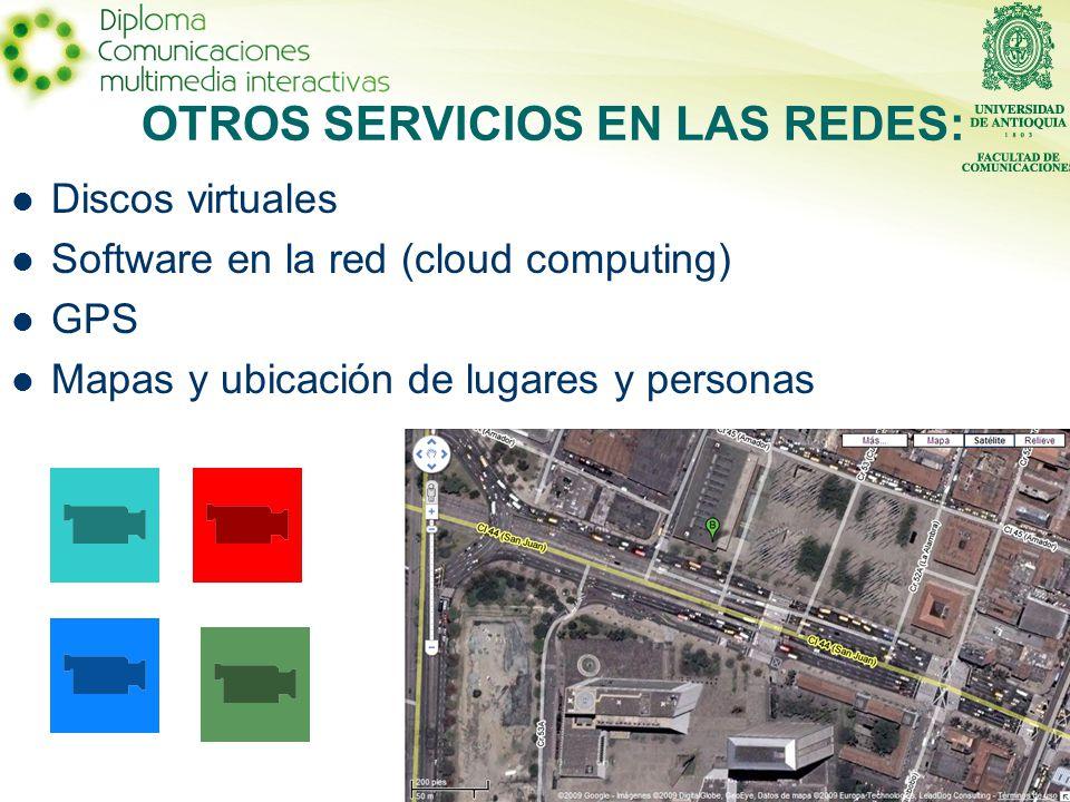 Discos virtuales Software en la red (cloud computing) GPS Mapas y ubicación de lugares y personas OTROS SERVICIOS EN LAS REDES: