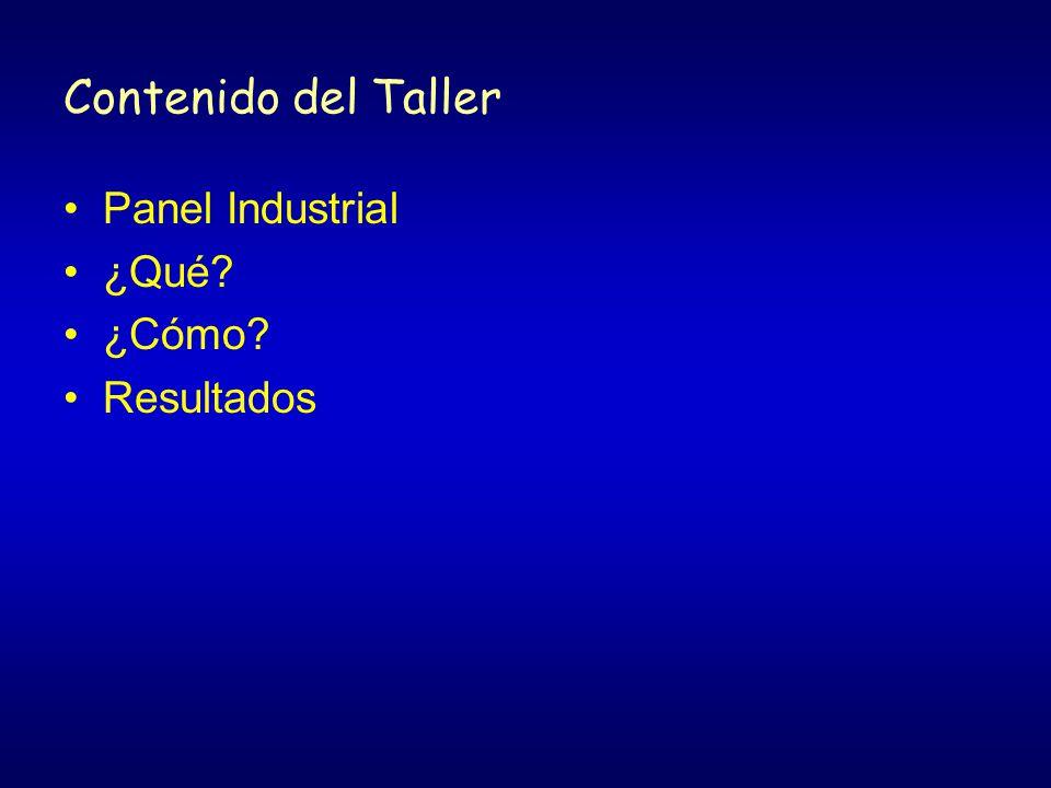 Contenido del Taller Panel Industrial ¿Qué? ¿Cómo? Resultados