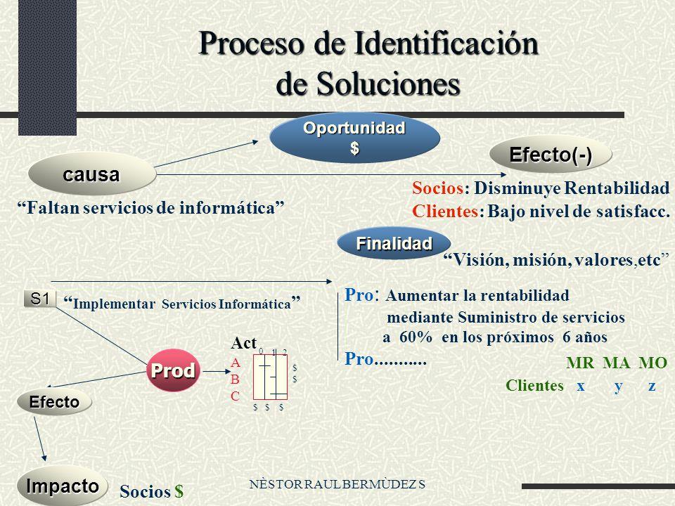 NÈSTOR RAUL BERMÙDEZ S Proceso de Identificación de Soluciones Faltan servicios de informática Socios: Disminuye Rentabilidad Clientes: Bajo nivel de satisfacc.