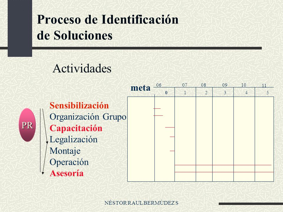 NÈSTOR RAUL BERMÙDEZ S Proceso de Identificación de Soluciones Actividades PR Sensibilización Organización Grupo Capacitación Legalización Montaje Operación Asesoría meta 012345 0607080910 11