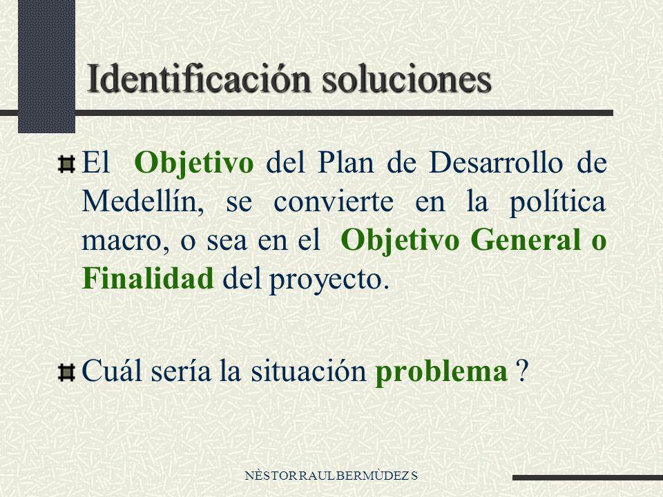 NÈSTOR RAUL BERMÙDEZ S Identificación soluciones El Objetivo del Plan de Desarrollo de Medellín, se convierte en la política macro, o sea en el Objetivo General o Finalidad del proyecto.