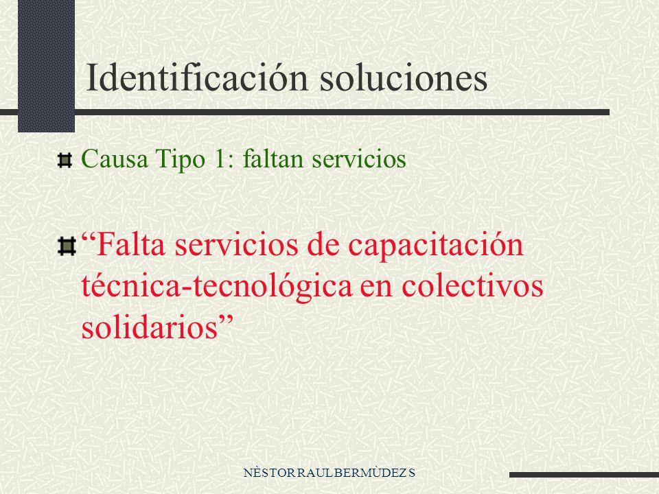 NÈSTOR RAUL BERMÙDEZ S Identificación soluciones Causa Tipo 1: faltan servicios Falta servicios de capacitación técnica-tecnológica en colectivos solidarios