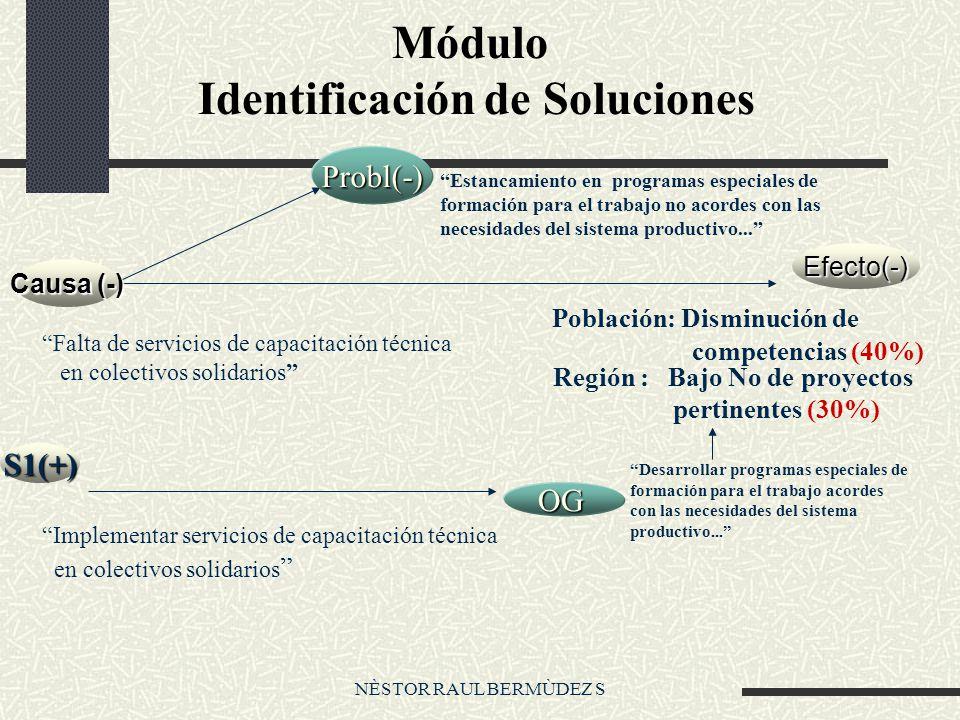 NÈSTOR RAUL BERMÙDEZ S Módulo Identificación de Soluciones Efecto(-) Probl(-) S1(+) OG Desarrollar programas especiales de formación para el trabajo acordes con las necesidades del sistema productivo...