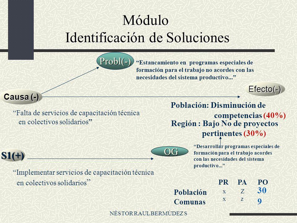 NÈSTOR RAUL BERMÙDEZ S Módulo Identificación de Soluciones Módulo Identificación de Soluciones Probl(-) Estancamiento en programas especiales de formación para el trabajo no acordes con las necesidades del sistema productivo...