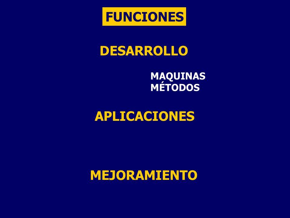 FUNCIONES DESARROLLO MAQUINAS MÉTODOS APLICACIONES MEJORAMIENTO