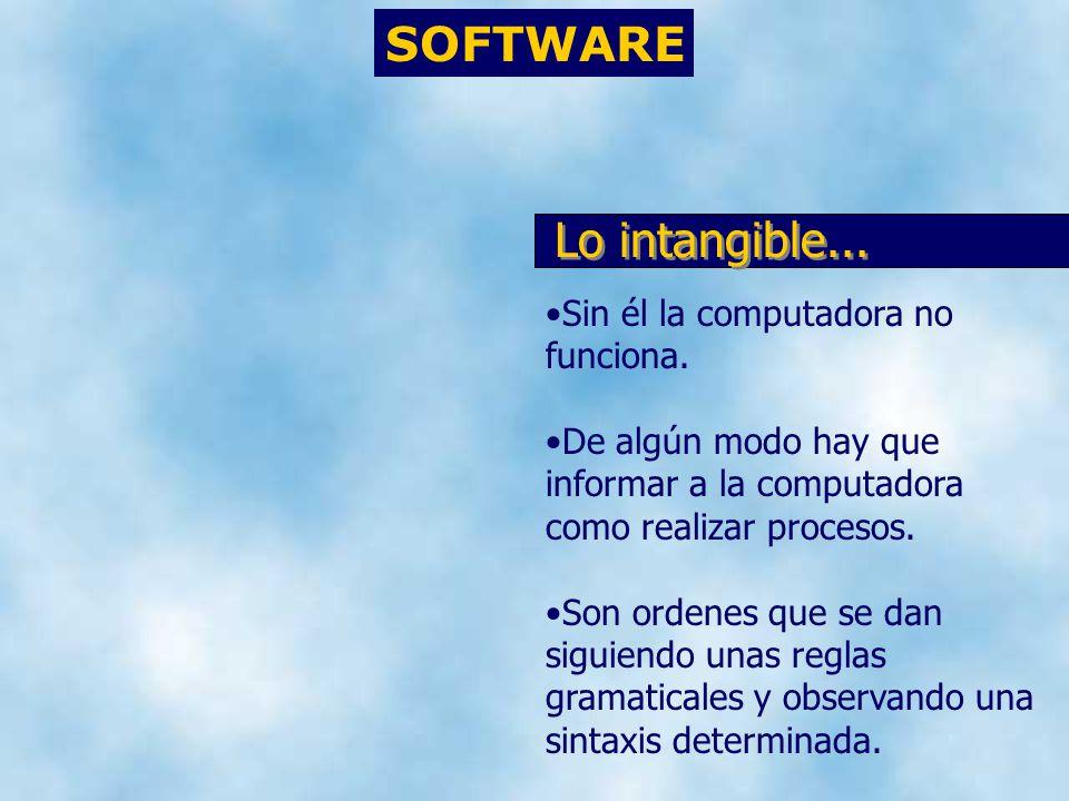 SOFTWARE Sin él la computadora no funciona. De algún modo hay que informar a la computadora como realizar procesos. Son ordenes que se dan siguiendo u
