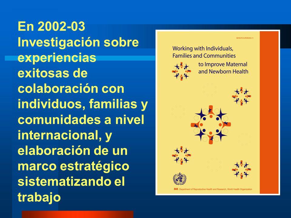 En 2002-03 Investigación sobre experiencias exitosas de colaboración con individuos, familias y comunidades a nivel internacional, y elaboración de un marco estratégico sistematizando el trabajo