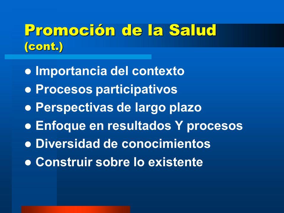 Promoción de la Salud (cont.) Importancia del contexto Procesos participativos Perspectivas de largo plazo Enfoque en resultados Y procesos Diversidad de conocimientos Construir sobre lo existente
