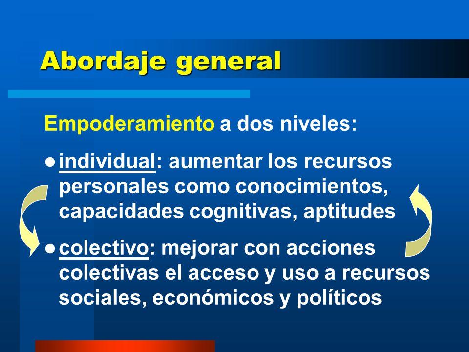 Abordaje general Empoderamiento a dos niveles: individual: aumentar los recursos personales como conocimientos, capacidades cognitivas, aptitudes colectivo: mejorar con acciones colectivas el acceso y uso a recursos sociales, económicos y políticos