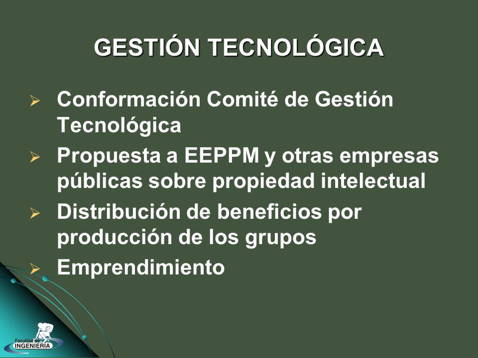 Conformación Comité de Gestión Tecnológica Propuesta a EEPPM y otras empresas públicas sobre propiedad intelectual Distribución de beneficios por producción de los grupos Emprendimiento GESTIÓN TECNOLÓGICA