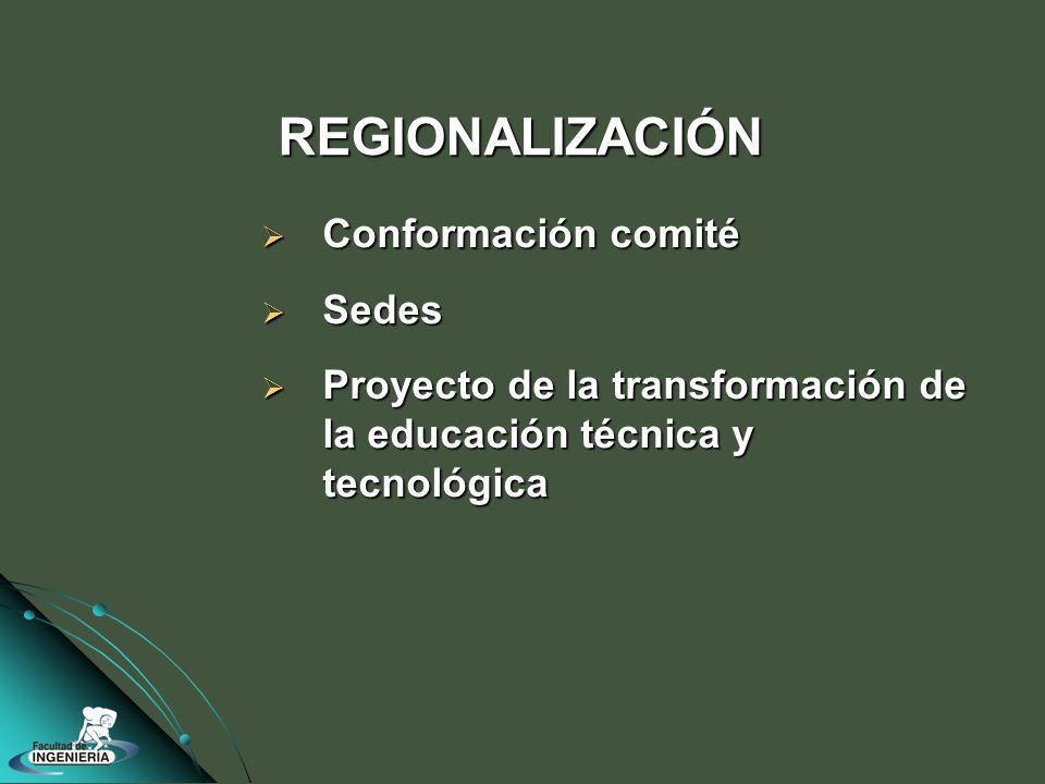Conformación comité Conformación comité Sedes Sedes Proyecto de la transformación de la educación técnica y tecnológica Proyecto de la transformación de la educación técnica y tecnológica REGIONALIZACIÓN