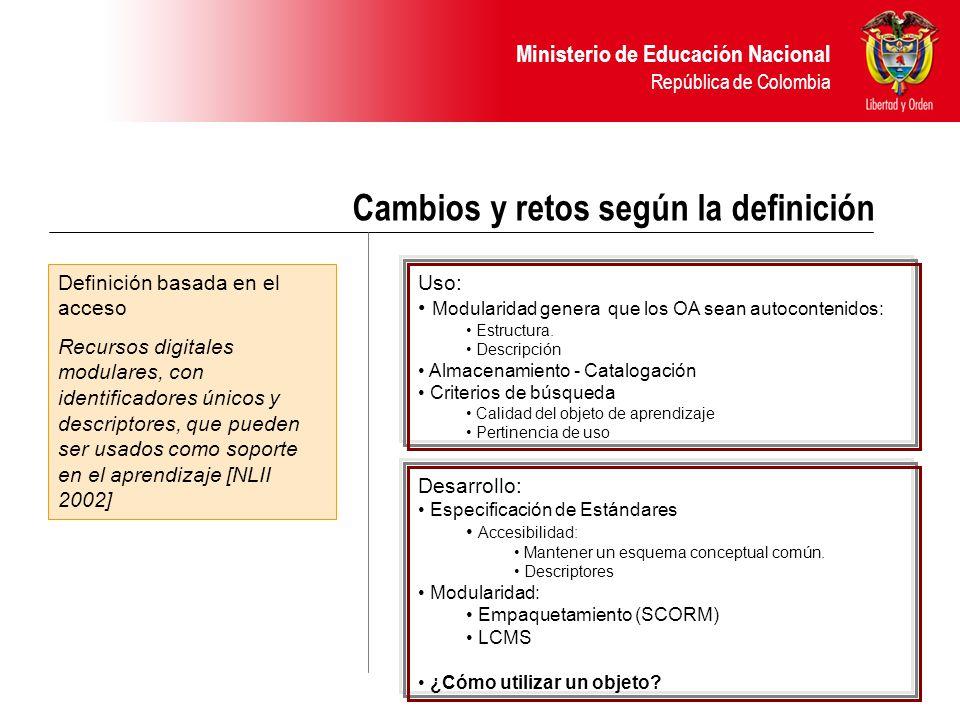 Ministerio de Educación Nacional República de Colombia Cambios y retos según la definición Definición basada en el acceso Recursos digitales modulares, con identificadores únicos y descriptores, que pueden ser usados como soporte en el aprendizaje [NLII 2002] Uso: Modularidad genera que los OA sean autocontenidos: Estructura.