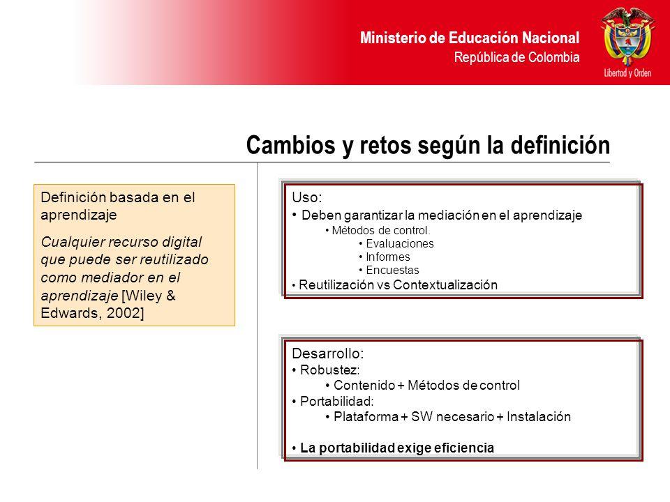 Ministerio de Educación Nacional República de Colombia Cambios y retos según la definición Definición basada en el aprendizaje Cualquier recurso digital que puede ser reutilizado como mediador en el aprendizaje [Wiley & Edwards, 2002] Uso: Deben garantizar la mediación en el aprendizaje Métodos de control.