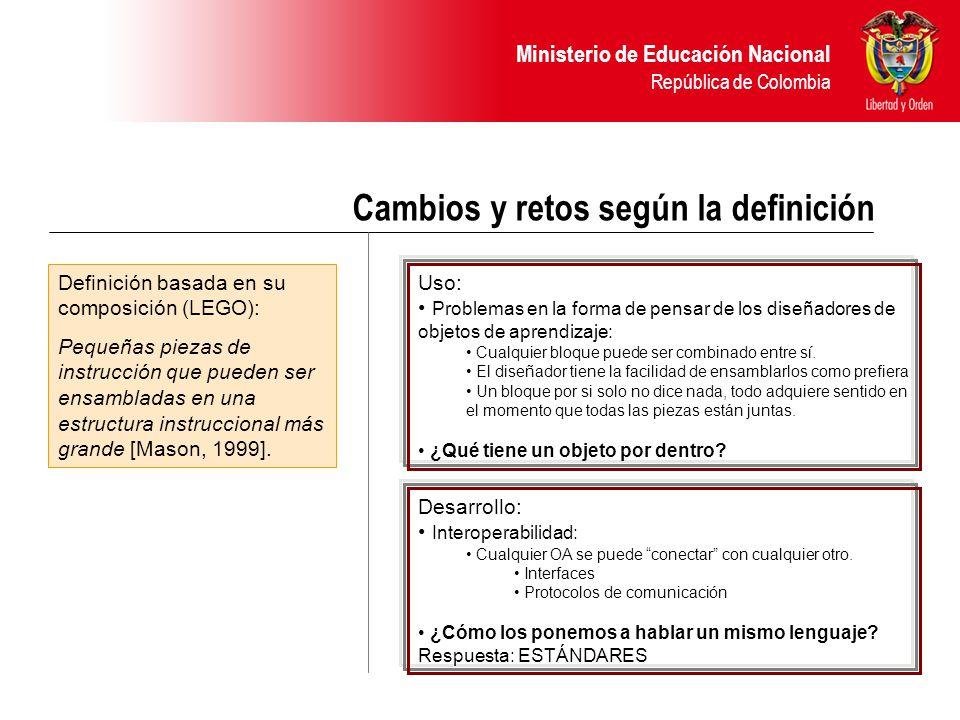 Ministerio de Educación Nacional República de Colombia Cambios y retos según la definición Definición basada en su composición (LEGO): Pequeñas piezas de instrucción que pueden ser ensambladas en una estructura instruccional más grande [Mason, 1999].