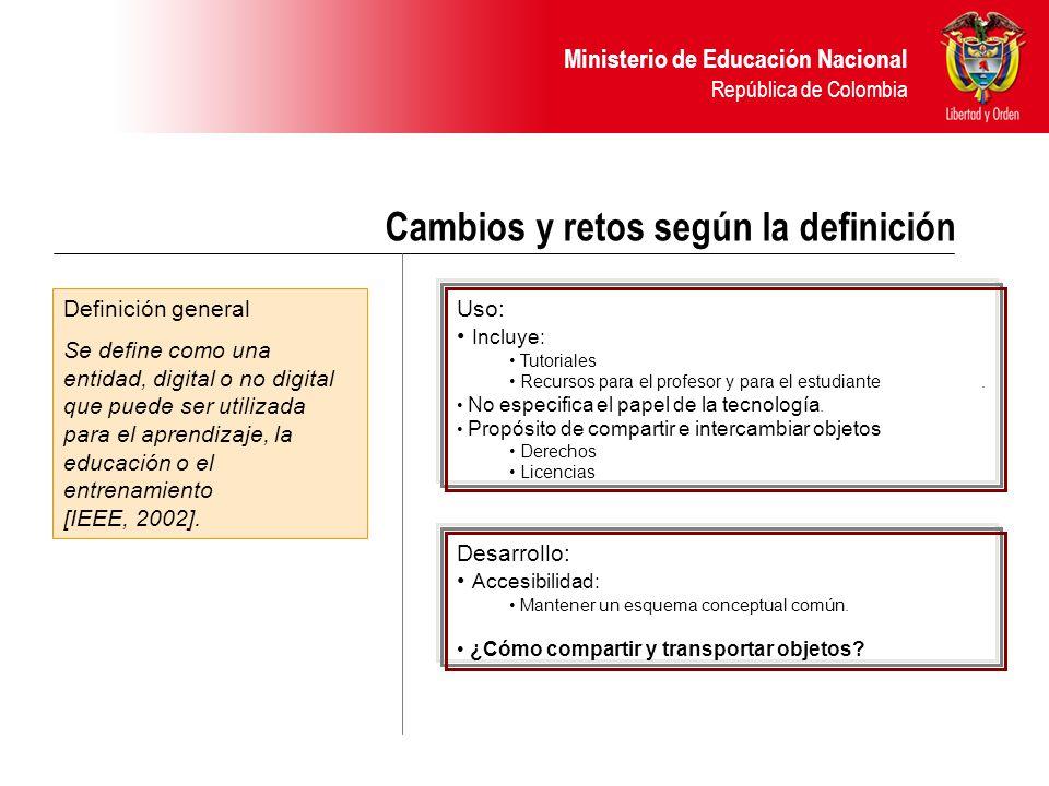 Ministerio de Educación Nacional República de Colombia Cambios y retos según la definición Definición general Se define como una entidad, digital o no digital que puede ser utilizada para el aprendizaje, la educación o el entrenamiento [IEEE, 2002].