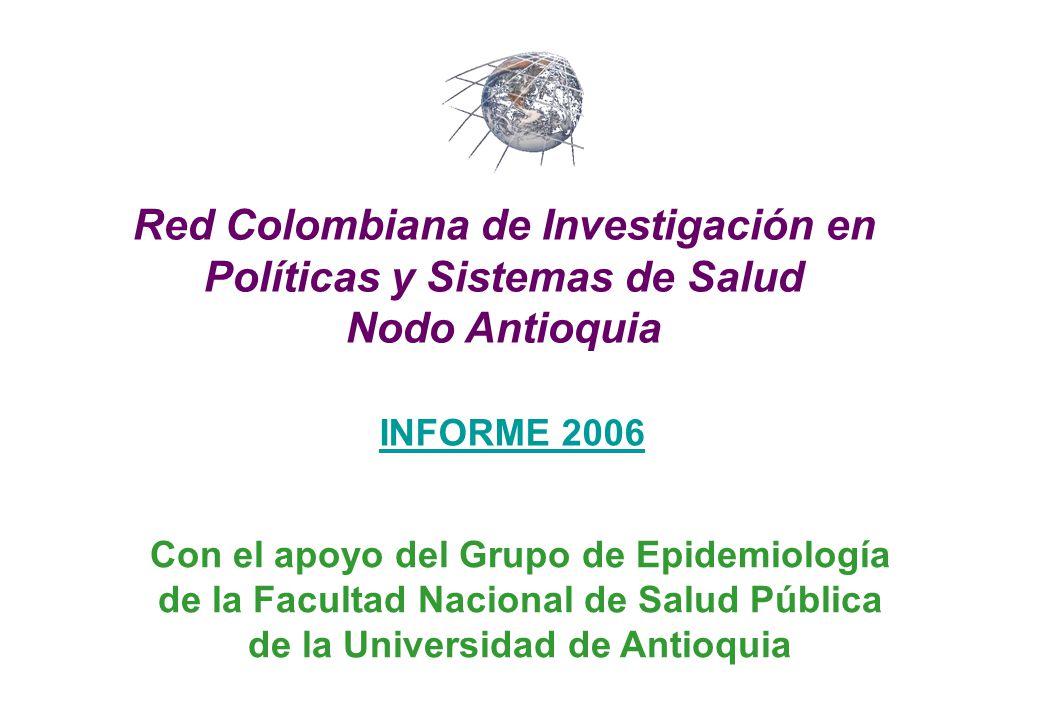 INFORME 2006 Red Colombiana de Investigación en Políticas y Sistemas de Salud Nodo Antioquia Con el apoyo del Grupo de Epidemiología de la Facultad Nacional de Salud Pública de la Universidad de Antioquia