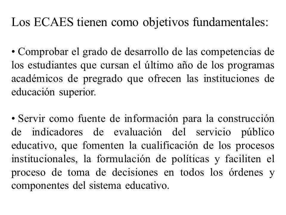 Los ECAES tienen como objetivos fundamentales: Comprobar el grado de desarrollo de las competencias de los estudiantes que cursan el último año de los programas académicos de pregrado que ofrecen las instituciones de educación superior.