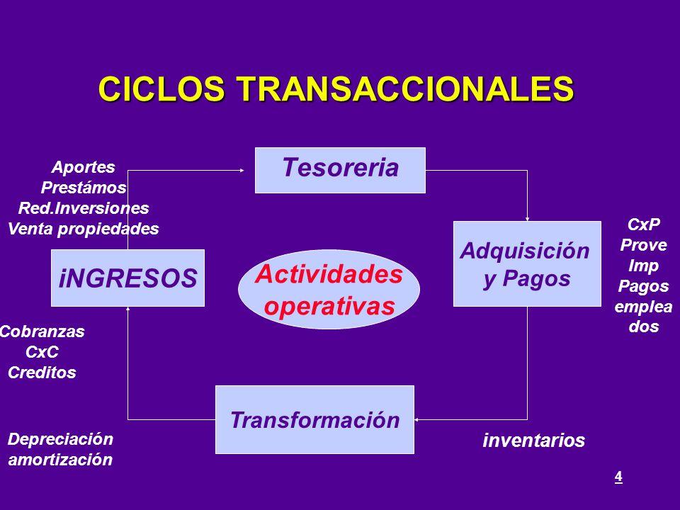 4 CICLOS TRANSACCIONALES Adquisición y Pagos Tesoreria Transformación iNGRESOS Actividades operativas inventarios CxP Prove Imp Pagos emplea dos Depre