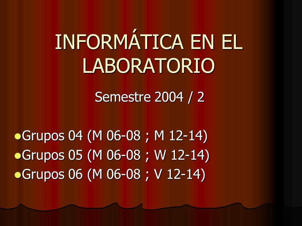 INFORMÁTICA EN EL LABORATORIO Semestre 2004 / 2 Grupos 04 (M 06-08 ; M 12-14) Grupos 04 (M 06-08 ; M 12-14) Grupos 05 (M 06-08 ; W 12-14) Grupos 05 (M 06-08 ; W 12-14) Grupos 06 (M 06-08 ; V 12-14) Grupos 06 (M 06-08 ; V 12-14)