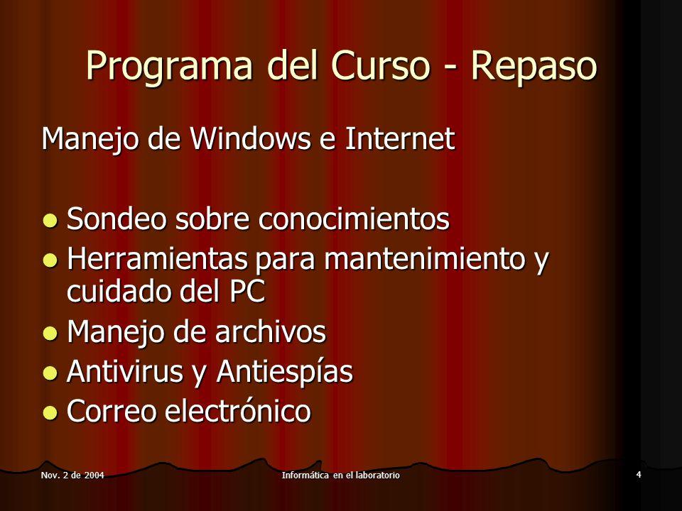 Informática en el laboratorio 4 Nov.