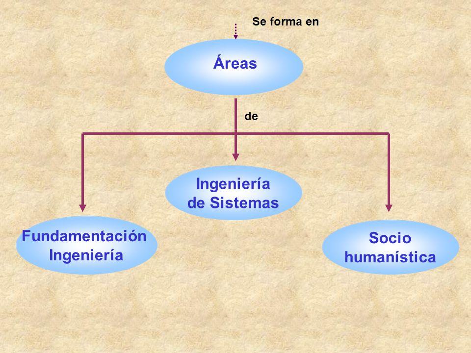 Áreas de Ingeniería de Sistemas Fundamentación Ingeniería Socio humanística Se forma en